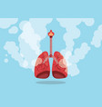 lungs on smoke unhealthy sign with flat blue vector image
