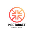 medical cross target icon logo design with four vector image vector image