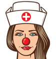 medical nurse - red nose day vector image