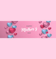 mothers day banner of pink hearts for mom love vector image vector image