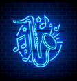 neon label music jazz banner vector image