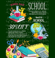 school supplies and item sale banner on chalkboard vector image vector image