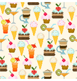 seamless pattern with drinks and sweets vector image