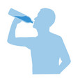 silhouette of man drinking water from bottle flow vector image