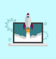 startup launch flat icon concept with rocket vector image