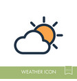 sun and cloud icon meteorology weather vector image