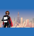 superheroine holding book in city vector image vector image