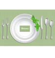 table setting with plate spoon knife and fork on vector image