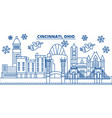 usa ohio cincinnati winter city skyline merry vector image vector image