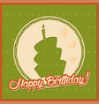 vintage birthday card with cake silhouette on vector image