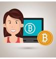 woman laptop bitcoin online vector image