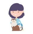 young woman with pet siberian dog cartoon vector image