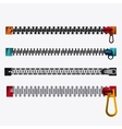 Zip zipper cloth metal teeth icon set vector image