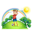 A tired soccer player at the top of the hill vector image vector image