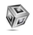 Balck white cube corporate business 3d logo vector image