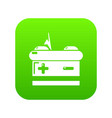 battery icon green vector image vector image