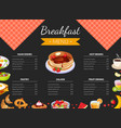 breakfast menu template for restaurant and cafe vector image vector image