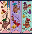 childrens 3 on the school theme bird owl holding vector image