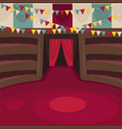 circus arena with amphitheatrical rows and red vector image