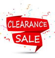 clearance sale with ribbon and confetti vector image