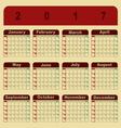 Colorful memo 2017 calendar template vector image vector image
