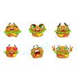 cute kawaii hamburger cartoon character with vector image vector image