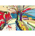 digital art painting of rural landscape vector image vector image