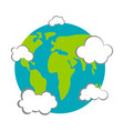 earth with clouds icon earth day vector image