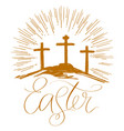 easter holiday religious calligraphic text cross vector image vector image