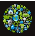 Ecological set with green icons on black vector image vector image