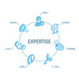 expertise isometric concept connected line 3d vector image vector image