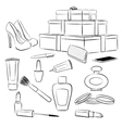 Fashion accessories and makeup set vector image vector image