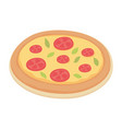 fast food pizza with pepperoni isolated icon vector image