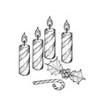 four christmas candles with holly twigs and candy vector image