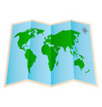 four fold world map paper on a white background vector image vector image