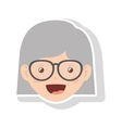 front face elderly woman short hair with glasses vector image