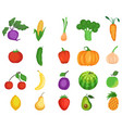 fruit and vegetable icon set flat isolated vector image