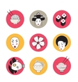 Hand drawn Japan and Asia design icons collection vector image
