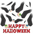 happy halloween background with eyes and wings vector image vector image