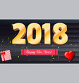 happy new year 2018 volumetric numbers from gold vector image vector image