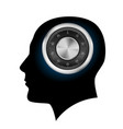 human head with a combination lock on white vector image vector image