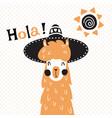 llama in hat vector image