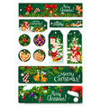 merry christmas greeting card tag banner vector image vector image
