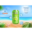 mojito drink aluminium can ads and ice cubes vector image