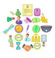 monetary influence icons set cartoon style