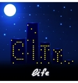 Night city life with houses and lights vector image vector image