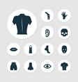part icons set with ear lip foot and other body vector image
