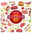 party barbecue hot icons set vector image vector image