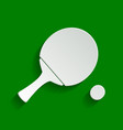 ping pong paddle with ball paper whitish vector image vector image