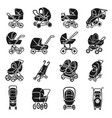 pram icons set simple style vector image vector image